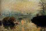 Claude Monet Sun Setting Over The Seine At Lavacourt painting