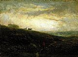 Edward Mitchell Bannister cows descending hillside painting