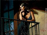 Fabian Perez Saba on the Balcony VIII painting