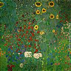Gustav Klimt Farm Garden with Sunflowers painting