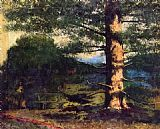 Gustave Courbet Landscape with tree painting