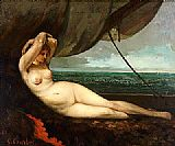Gustave Courbet Nude reclining by the sea painting