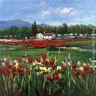 Hulsey Red Flower Field painting