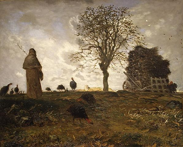 Jean Francois Millet Autumn landscape with a flock of Turkeys