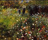 Cottage paintings - Summer Landscape Aka Woman With A Parasol In A Garden by Pierre Auguste Renoir