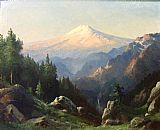 Robert Wood Mt. Ranier at Sunset painting