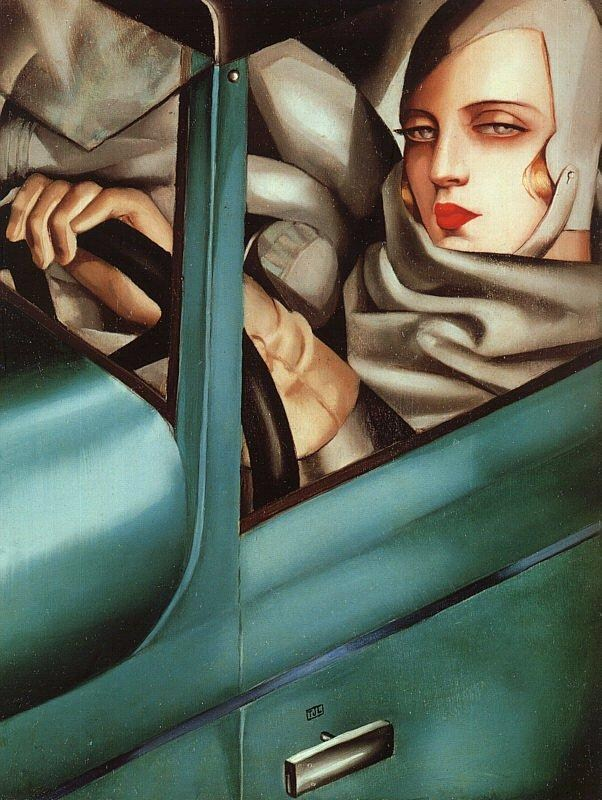 Tamara de Lempicka Self Portrait in Green Bugatti