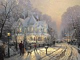 Cottage paintings - A Holiday Gathering by Thomas Kinkade