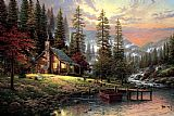 Cottage paintings - A Peaceful Retreat by Thomas Kinkade