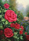 Cottage paintings - A Perfect Red Rose by Thomas Kinkade