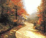 Cottage paintings - Autumn Lane by Thomas Kinkade