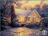 Cottage paintings - Christmas Cottage by Thomas Kinkade