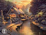 Cottage paintings - Christmas Evening by Thomas Kinkade