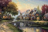 Cottage paintings - Cobblestone Bridge by Thomas Kinkade