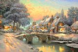 Cottage paintings - Cobblestone Christmas by Thomas Kinkade