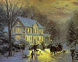 Thomas Kinkade HOME FOR THE HOLIDAYS painting