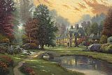 Cottage paintings - Lakeside Manor by Thomas Kinkade