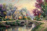 Cottage paintings - Lamplight Manor by Thomas Kinkade