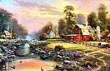 Cottage paintings - Sunset at Riverbend Farm by Thomas Kinkade