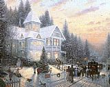 Cottage paintings - Victorian Christmas by Thomas Kinkade