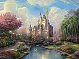 Cottage paintings - a new day at the Cinderella's castle by Thomas Kinkade