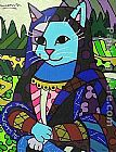 Unknown Artist Mona cat painting