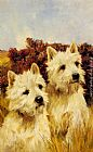 Arthur Wardle Jacque and Jean, Champion Westhighland White Terriers painting
