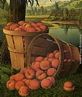 Levi Wells Prentice Bushels of Peaches Under a Tree painting