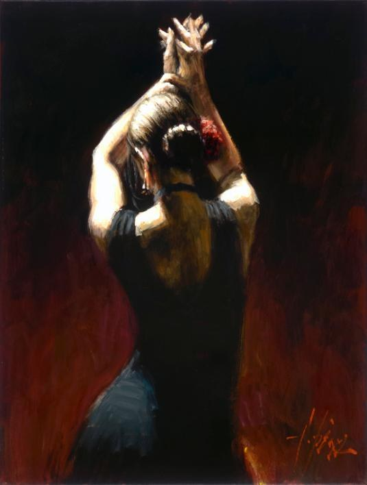 Fabian Perez flamenco dancer in black Dress