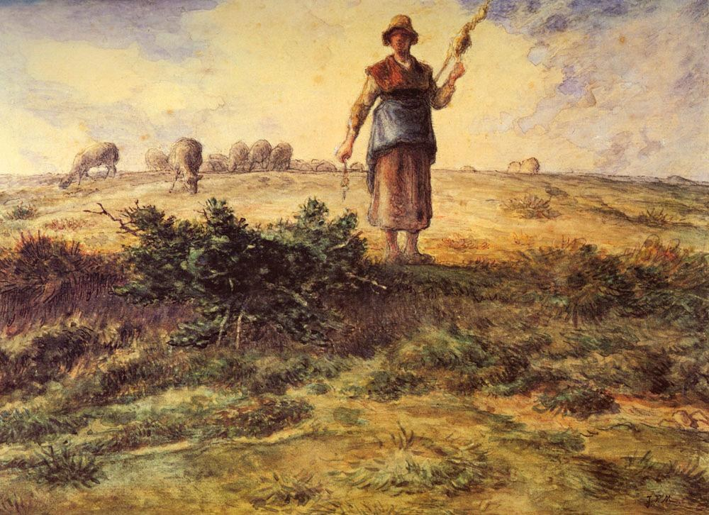 Jean Francois Millet A Shepherdess and her Flock