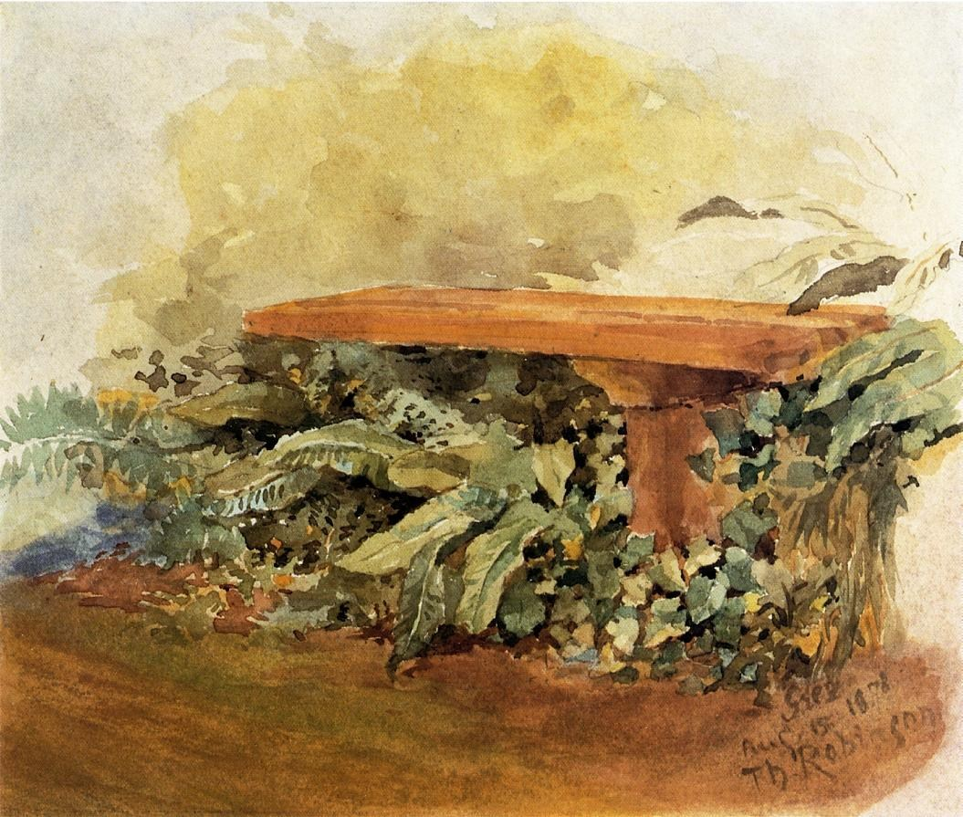 Theodore Robinson Garden Bench with Ferns