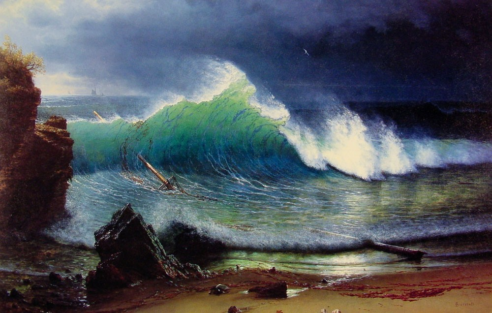 Albert bierstadt the shore of the turquoise sea painting for Large artwork for sale