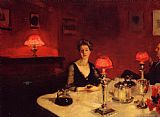 John Singer Sargent A Dinner Table at Night painting