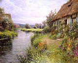 Cottage paintings - A Bend in the River by Louis Aston Knight