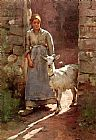 Theodore Robinson Girl with Goat painting