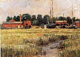 Theodore Robinson The Ship Yard painting