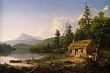 Cottage paintings - Home in the Woods by Thomas Cole